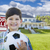 Boy Holding Ball In Front of House and Sale Sign stock photo © feverpitch
