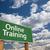 образование · зеленый · дорожный · знак · облака · впереди · драматический - Сток-фото © feverpitch