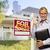 makelaar · uitverkocht · teken · huis · vrouwelijke · home - stockfoto © feverpitch