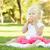 kislány · fű · egészségesen · enni · alma · aranyos · ül - stock fotó © feverpitch