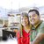 mixed race couple over kitchen design drawing and photo stock photo © feverpitch