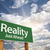 reality green road sign over clouds stock photo © feverpitch
