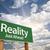 gerçeklik · yeşil · yol · işareti · dramatik · gökyüzü · bulutlar - stok fotoğraf © feverpitch