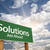 solutions green road sign over clouds stock photo © feverpitch
