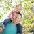 aranyos · fiatal · lány · háton · apukék · vállak · kívül - stock fotó © feverpitch
