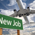 New Job Green Road Sign and Airplane Above stock photo © feverpitch