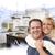 feliz · casal · cozinha · desenho - foto stock © feverpitch