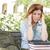 vrouwelijke · student · buiten · hoofdpijn · vergadering · boeken - stockfoto © feverpitch