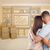 Military Couple In Empty Room with Shelf Drawing on Wall stock photo © feverpitch
