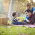 gelukkig · halfbloed · etnische · familie · picknick · park - stockfoto © feverpitch