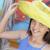 bastante · nina · amarillo · sombrero · mercado · joven - foto stock © feverpitch