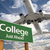 college green road sign and airplane above stock photo © feverpitch