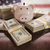 Thousands of Dollars, Piggy Bank, American Flag Reflection on Ta stock photo © feverpitch