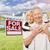 heureux · couple · de · personnes · âgées · vente · signe · maison - photo stock © feverpitch