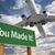 zöld · jelzőtábla · repülőgép · fölött · drámai · kék · ég - stock fotó © feverpitch