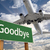 goodbye green road sign and airplane above stock photo © feverpitch