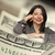 Hispanic Woman Leaning on a One Hundred Dollar Bill stock photo © feverpitch
