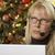 chateado · mulher · fone · árvore · de · natal · computador · telefone · mulher - foto stock © feverpitch
