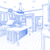 Blue Custom Kitchen Design Drawing on White stock photo © feverpitch