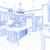 Blauw · gewoonte · keuken · ontwerp · tekening · witte - stockfoto © feverpitch