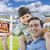 mixed race father son piggyback front of house sold sign stock photo © feverpitch
