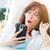 довольно · брюнетка · расслабляющая · гамак · мобильного · телефона - Сток-фото © feverpitch