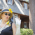 Attractive Woman in Twenties Outfit Near Antique House stock photo © feverpitch