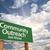 topluluk · yeşil · yol · işareti · bulutlar · dramatik · gökyüzü - stok fotoğraf © feverpitch