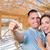 young military couple on site with house keys inside their new h stock photo © feverpitch