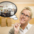 Woman in Empty Room with Thought Bubble of a New Kitchen Design stock photo © feverpitch