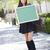 肖像 · 興奮した · 若い女性 · リュックサック · 図書 - ストックフォト © feverpitch