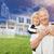 casal · de · idosos · casa · desenho · grama · foto · verde - foto stock © feverpitch
