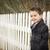小さな · 混血 · 少年 · 待って · スクールバス · フェンス - ストックフォト © feverpitch