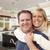 feliz · casal · dentro · belo · cozinha - foto stock © feverpitch