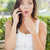 Shocked Young Adult Female Talking on Cell Phone Outdoors stock photo © feverpitch