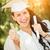 halfbloed · meisje · cap · toga · diploma · aantrekkelijk - stockfoto © feverpitch