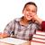 menino · estudar · distraído · maçã · sorrir · escolas - foto stock © feverpitch