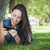 mixed race young female texting on cell phone outside stock photo © feverpitch
