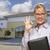 служба · здании · улыбаясь · знак · женщину · двери - Сток-фото © feverpitch