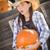 meisje · portret · cowboyhoed · pompoen - stockfoto © feverpitch