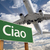 ciao green road sign and airplane above stock photo © feverpitch