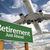 retirement green road sign and airplane above stock photo © feverpitch