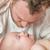 chinês · caucasiano · bebê · menino · cama - foto stock © feverpitch