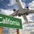 california green road sign and airplane above stock photo © feverpitch