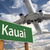 kauai green road sign and airplane above stock photo © feverpitch
