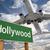 hollywood · zöld · jelzőtábla · repülőgép · fölött · drámai - stock fotó © feverpitch