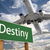 destiny green road sign and airplane above stock photo © feverpitch