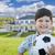 bonito · sorridente · criança · menino · futebol - foto stock © feverpitch