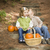 brother and sister children on wood steps with pumpkins whisperi stock photo © feverpitch