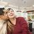 félvér · pár · csók · bent · gyönyörű · vám - stock fotó © feverpitch